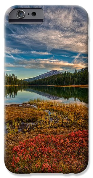 Fall iPhone Cases - Fall colors at Todd Lake 9-23-15 iPhone Case by Exquisite Oregon