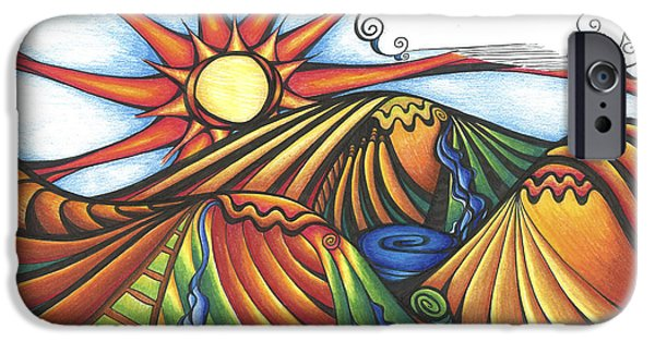 Vibrant Colors Drawings iPhone Cases - Fall Flint Hills landscape iPhone Case by Jenn Wilson