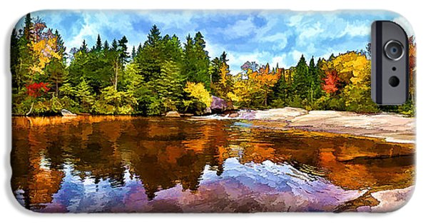 Red Rock iPhone Cases - Fall Foliage at Ledge Falls 3 iPhone Case by Bill Caldwell -        ABeautifulSky Photography
