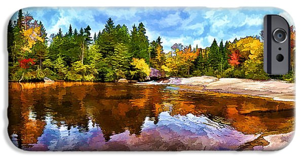 Ledge Digital iPhone Cases - Fall Foliage at Ledge Falls 3 iPhone Case by Bill Caldwell -        ABeautifulSky Photography