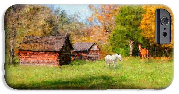 Tree Art Print iPhone Cases - Fall Horses iPhone Case by Mary Timman