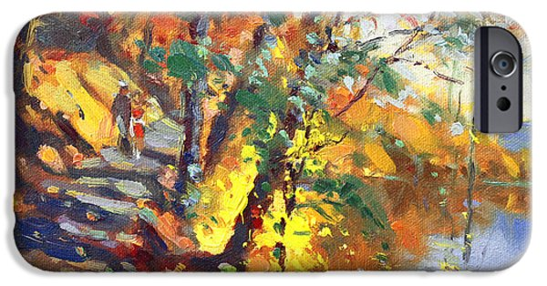 Autumn Road iPhone Cases - Fall in Bear Mountain iPhone Case by Ylli Haruni