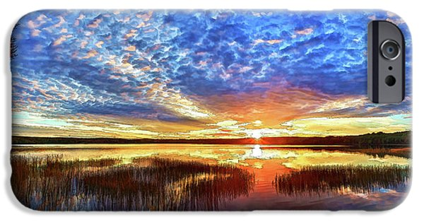 Downeast iPhone Cases - Fall Sunset at Round Lake Panorama iPhone Case by Bill Caldwell -        ABeautifulSky Photography