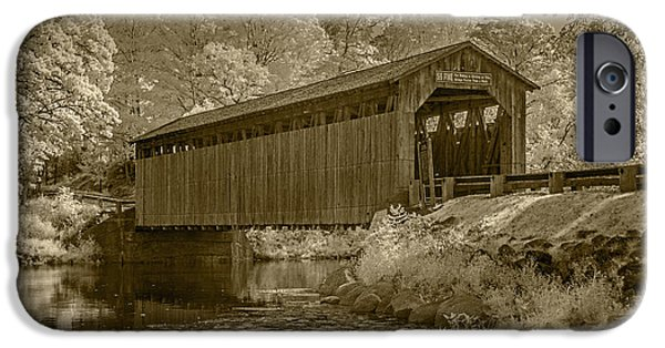 Covered Bridge iPhone Cases - Fallasburg Covered Bridge in Infrared and Sepia iPhone Case by Randall Nyhof