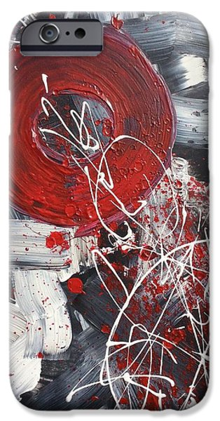Red Abstract iPhone Cases - Falling Apart iPhone Case by Brittany Houchin