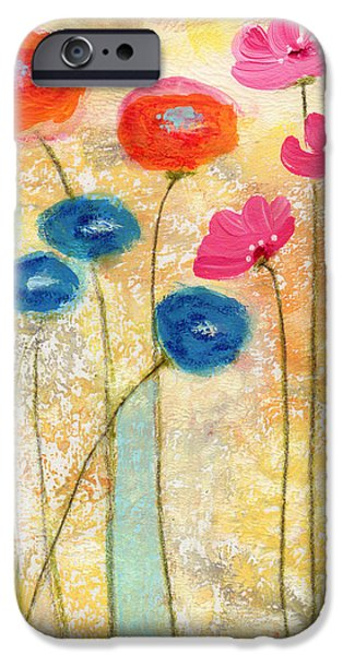 Contemporary Abstract iPhone Cases - Falling For You- floral art by Linda Woods iPhone Case by Linda Woods