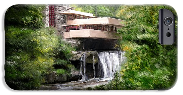 Scott Melby iPhone Cases - Fallingwater - Frank Lloyd Wright iPhone Case by Scott Melby