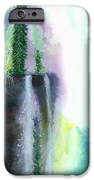 Beautiful Scenery Paintings iPhone Cases - Falling waters 1 iPhone Case by Anil Nene