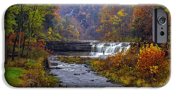 Taughannock Falls iPhone Cases - Falls Fishing iPhone Case by Mark Papke