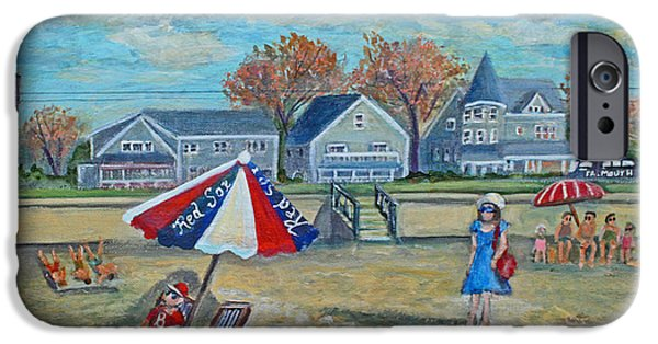 Red Sox iPhone Cases - Falmouth Heights Beach on a Fall Afternoon iPhone Case by Rita Brown