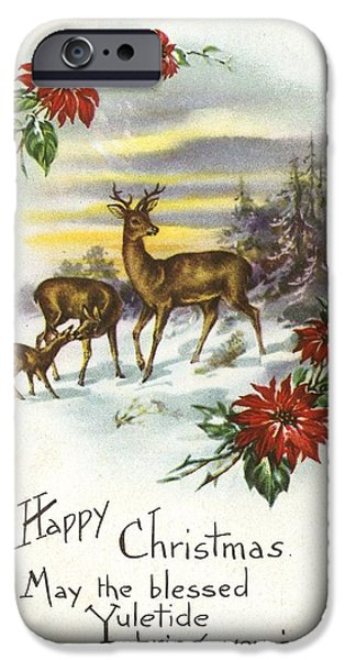 Snow iPhone Cases - Family Of Deer With Partial Poinsettia iPhone Case by Ink and Main