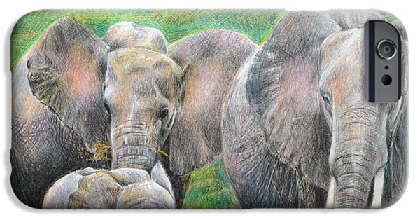 Elephant iPhone Cases - Family Outing iPhone Case by Arline Wagner