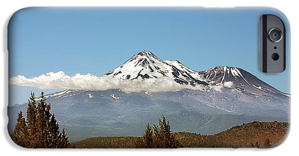 Interior Scene iPhone Cases - Family Portrait - Mount Shasta and Shastina Northern California iPhone Case by Christine Till