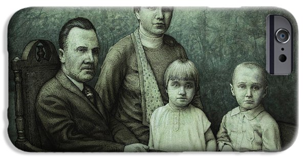 Victorian Drawings iPhone Cases - Family Portrait iPhone Case by James W Johnson