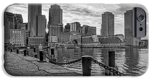 Recently Sold -  - Boston iPhone Cases - Fan Pier Boston Harbor BW iPhone Case by Susan Candelario