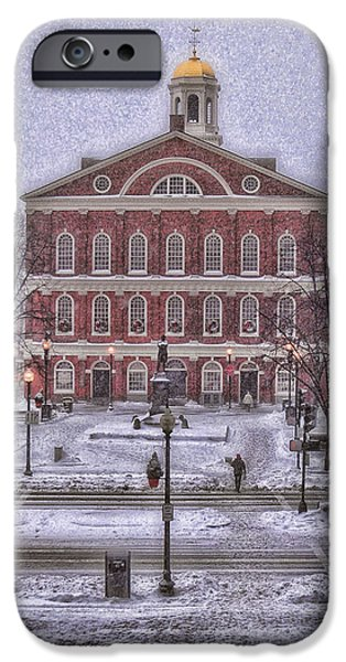 Joann Vitali iPhone Cases - Faneuil Hall Snow iPhone Case by Joann Vitali