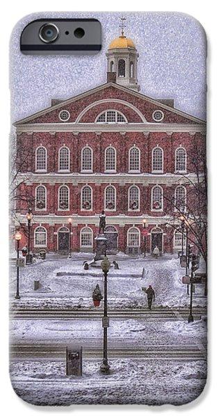 Faneuil Hall Snow iPhone Case by Joann Vitali