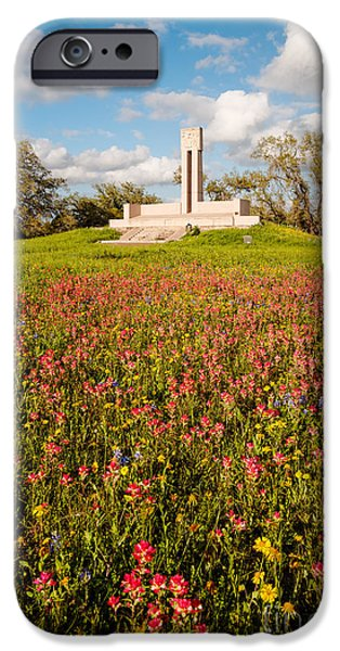 Historic Site iPhone Cases - Fannin Monument and Memorial with Wildflowers in Goliad - Coastal Bend South Texas iPhone Case by Silvio Ligutti