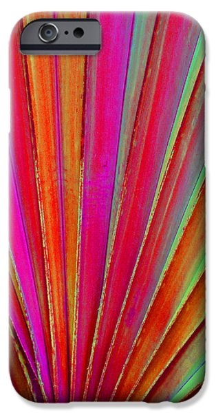 Colorful Abstract iPhone Cases - Fantasy Palm Leaf Abstract iPhone Case by Margaret Saheed