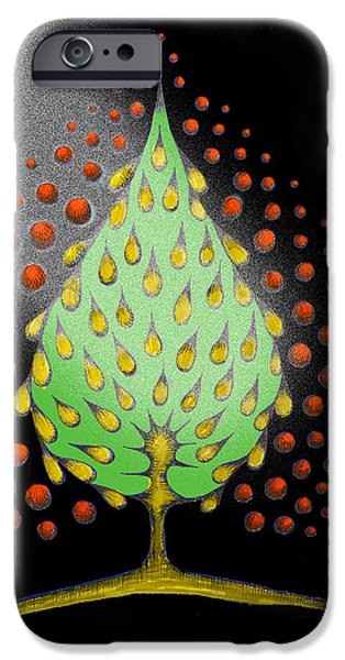 Vibrant Colors Drawings iPhone Cases - Fantasy Tree iPhone Case by Marketa Kostrova