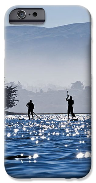 Faraway Paddle Boarders in Morro Bay iPhone Case by Bill Brennan - Printscapes