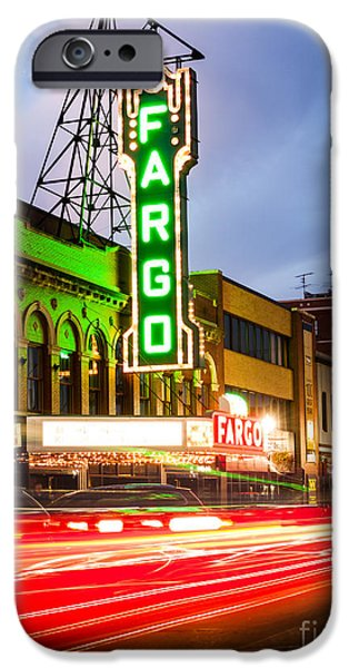 Venue iPhone Cases - Fargo Theatre and Downtown Buidlings at Night iPhone Case by Paul Velgos