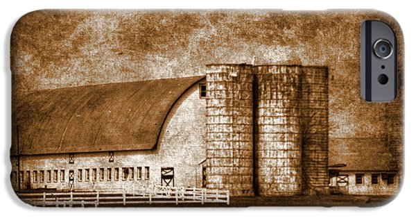Business iPhone Cases - Farm and silo of West Jersey iPhone Case by Geraldine Scull