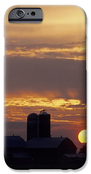 Farm at sunset iPhone Case by Steve Somerville