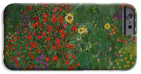 Sunflower Paintings iPhone Cases - Farm Garden with Flowers iPhone Case by Gustav Klimt