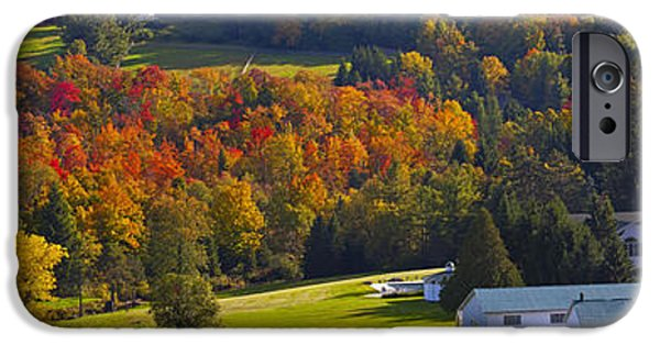 Colour Image iPhone Cases - Farm In Autumn  Knowlton, Quebec, Canada iPhone Case by David Chapman