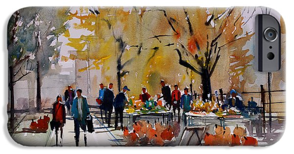 Figures Paintings iPhone Cases - Farm Market - Menasha iPhone Case by Ryan Radke