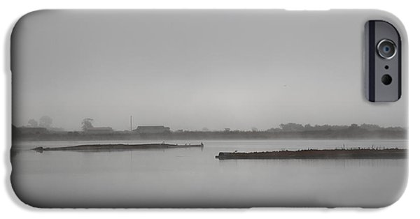 Mist iPhone Cases - Farm on the Marsh iPhone Case by Clyde Dellinger