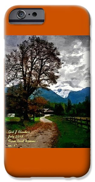Abstract Digital Paintings iPhone Cases - Farm Road Dreams no. 1 H A iPhone Case by Gert J Rheeders