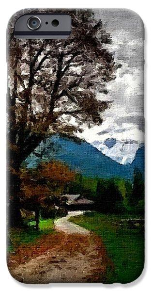 Abstract Digital Paintings iPhone Cases - Farm Road Dreams no. 1 H B iPhone Case by Gert J Rheeders