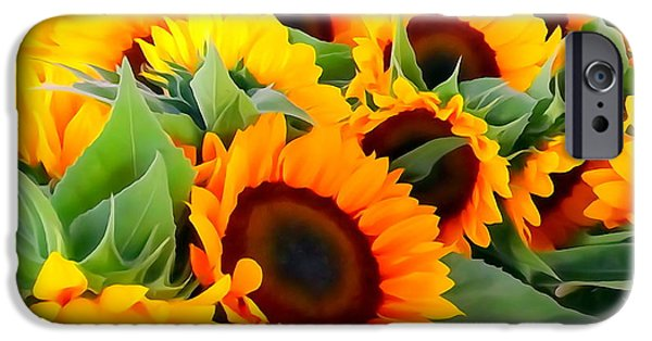 Farm Stand iPhone Cases - Farm Stand Sunflowers #8 iPhone Case by Ed Weidman