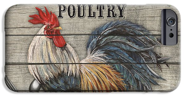 Feeds Chicks iPhone Cases - Farm to Table Rooster-JP2628 iPhone Case by Jean Plout