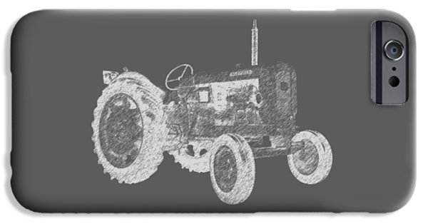 Agriculture Drawings iPhone Cases - Farm Tractor Tee iPhone Case by Edward Fielding