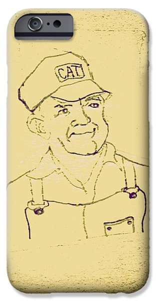 Crops Drawings iPhone Cases - Farmer in CAT Hat iPhone Case by Sheri Parris