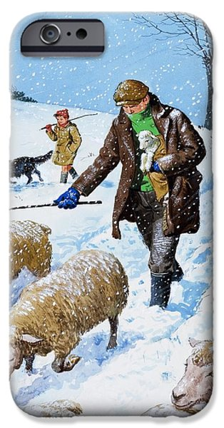 Winter Wonderland Drawings iPhone Cases - Farmers bringing in their sheep iPhone Case by Clive Uptton