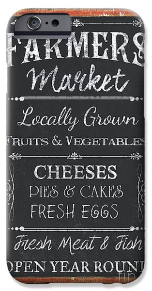 Sign iPhone Cases - Farmers Market Signs iPhone Case by Debbie DeWitt