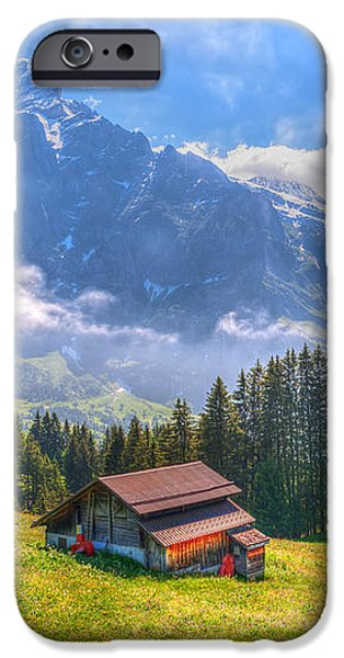 Grindelwald iPhone Cases - Farmhouse On Top Of the Hill iPhone Case by Susan Dost