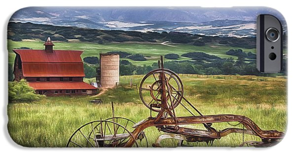 Field. Cloud iPhone Cases - Farming in Days Gone By iPhone Case by Priscilla Burgers