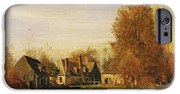 Village iPhone Cases - Farmyard iPhone Case by Francois Louis Francais