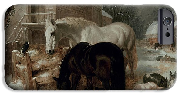 Rural Landscapes iPhone Cases - Farmyard Scene iPhone Case by John Frederick Herring Snr
