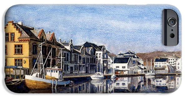 Janet King iPhone Cases - Farsund Dock Scene 2 iPhone Case by Janet King