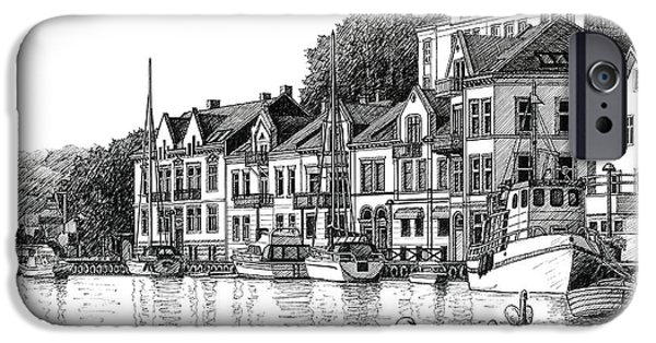 Janet King iPhone Cases - Farsund Harbor in ink iPhone Case by Janet King