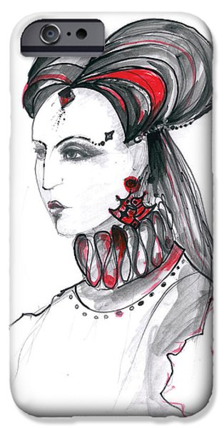 Mixed Media Drawings iPhone Cases - Fashion illustration in watercolor iPhone Case by Marian Voicu