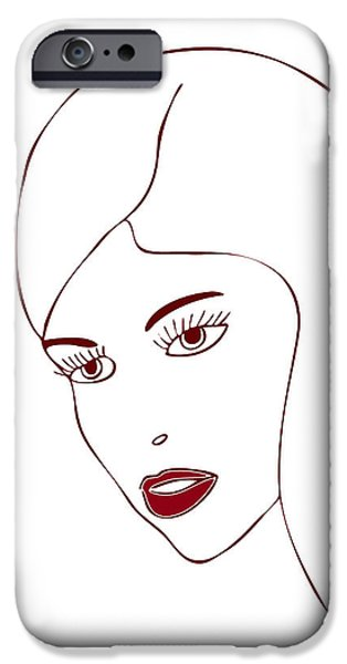 Thought Drawings iPhone Cases - Fashion Model iPhone Case by Frank Tschakert