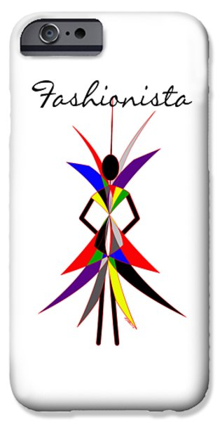 Best Sellers -  - Abstract Digital Drawings iPhone Cases - Fashionista iPhone Case by Methune Hively