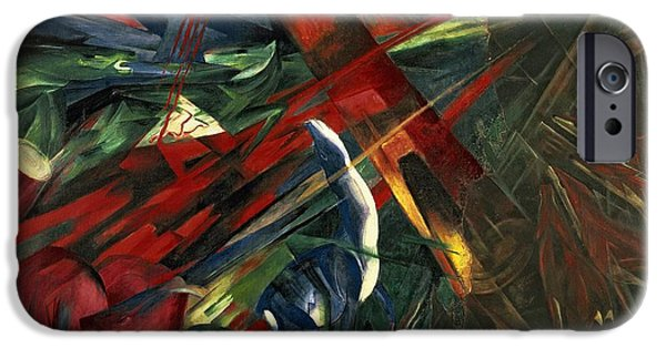 Fate Paintings iPhone Cases - Fate of the Animals iPhone Case by Franz Marc